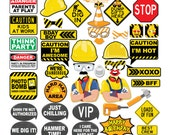 42 Funny Construction Photo Booth Props - INSTANT DOWNLOAD - DIY Printable (Pdf)