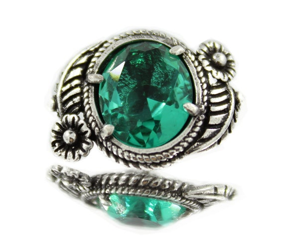 Emerald green crystal with silver plated brass leaf flower for Buttons with shanks for jewelry
