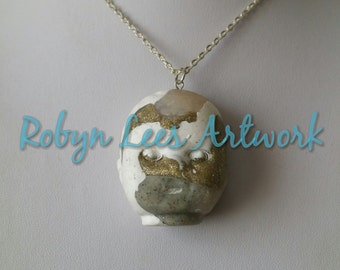 Mixed Opal, Granite, Shiny Glitter , Polymer Clay Creepy Cute Doll's Head on Silver, Gold, Bronze or Gunmetal Crossed Chain