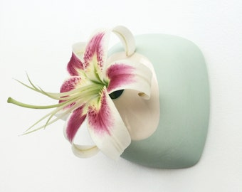 slip-cast porcelain hanging wall vase