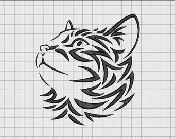 Cat Kitten Feline 3 Tribal Embroidery Design in 3x3 4x4 5x5 and 6x6 Sizes