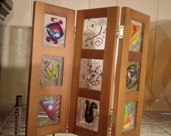 Mini screen with fused glass inserts
