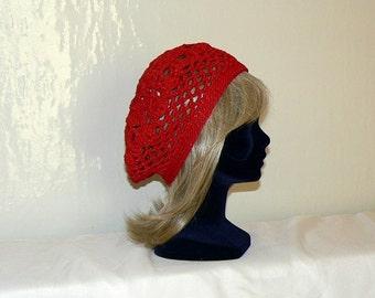 Crochet Womens Hat, Crochet Slouchy Hat, Crochet Hat slouch knit Beanie, crochet Beret, red black women hat, rot  crochet hat