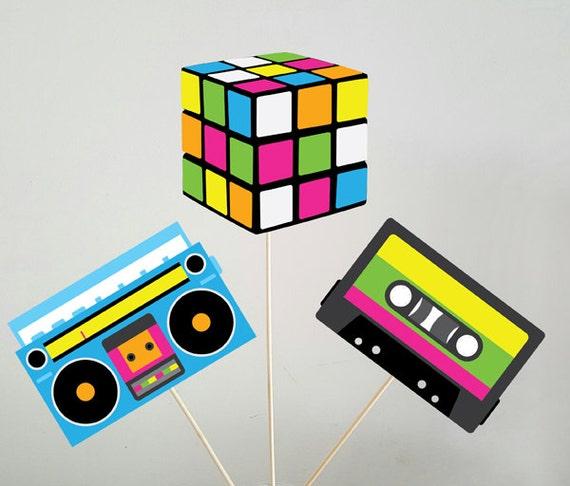 80 39 s party centerpieces cassette tape centerpiece record - Decoracion fiesta 80 anos ...