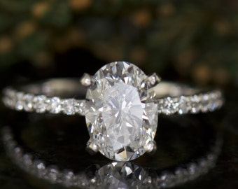 Oval Moissanite and Diamond Engagement Ring in 14k Gold, 9x7mm 2.26ct Oval F1, 0.18ctw E-F Color VS Clarity Diamonds, 1.6mm Band, Nyla M