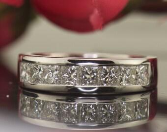 Dayana - Diamond Wedding Band in White Gold, prinssce cut diamond , 4.7mm High Polish Channel Setting, Classic Design, Free Shipping