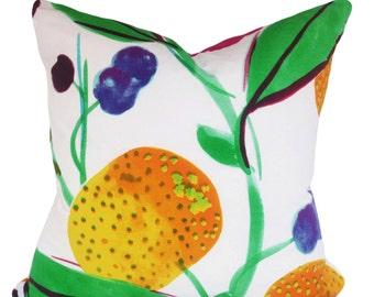 Marimekko Floral Fruit Decorative Pillow Cover - Throw Pillow - Both Sides - 12x16, 12x20, 14x20, 14x24, 16x16, 18x18, 20x20