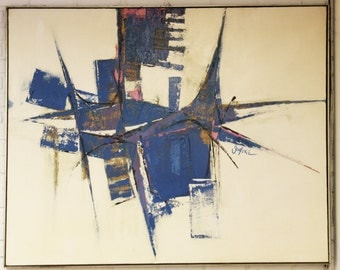 Mid Century Modern Very Large Abstract Painting Original Signed Artist Souliere