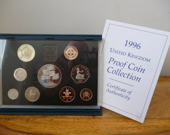 United Kingdom Royal Mint 1996 Proof  Coin Year Set housed in Royal Mint blue case with leafet.