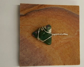 Wire wrapped, non-tarnish silver plated pendant-fuchsite with ruby