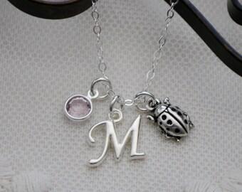 Personalized Lady Bug Necklace, Lady Bug Necklace, Lady Bird Necklace, Letter Birthstone, Cute Lady Bug Necklace, Lady Bug Gifts, Custom