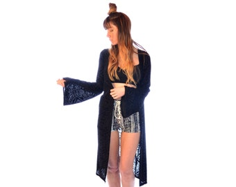 Burnout Black Velvet Duster with Bell Sleeves