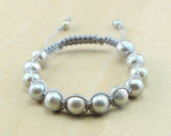 Silver Gray/Grey Round Edison Pearl and Gray Nylon Cord Bracelet