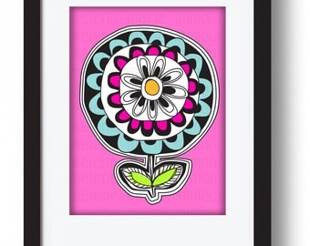 FLOWER POWER  A4 Art Print mounted & ready to frame