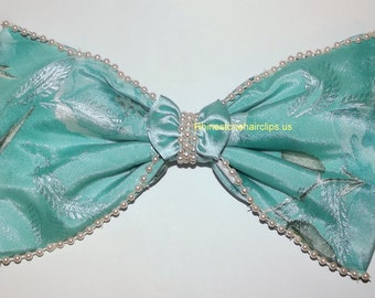 Becky Bows ~ Barrette rhinestones huge Scarf BIG hair bow Women or Girls giant  TEAL blue and pearls