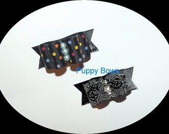 Puppy Bows ~BLACK PARTY FANCY  show dog bow  pet bands, hair clip or  barrette