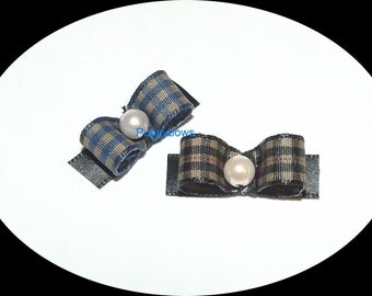 Puppy Bows ~BOYS gingham blue or brown bead center hair bow clip Yorkie  barrette dog grooming