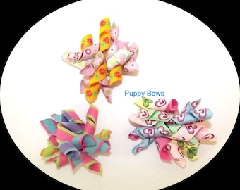Puppy Bows ~ Korky Korker bows for dogs flowers hearts Shih Tzu pet hair  ~USA seller