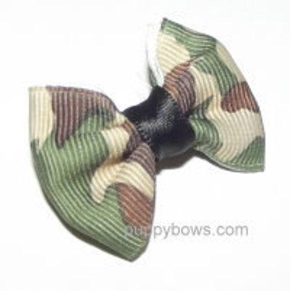 Puppy Bows ~Blue Camo Green Camo Brown zebra black animal print dog bow  pet hair clip barrette