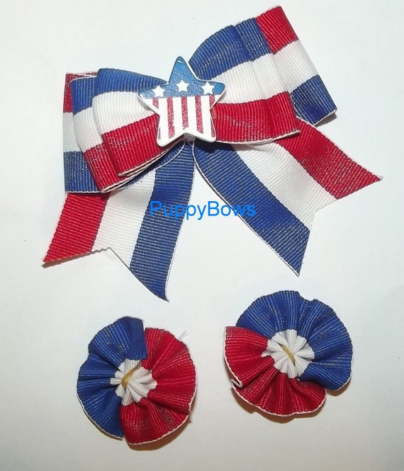 Puppy Bows ~assorted BOW SETS boys or girls, pink blue pet hair clips ~USA seller