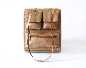 Vintage leather bag brown nubby handbag with pockets and straps