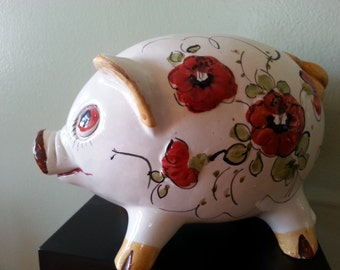 Vintage Hand painted Piggy Bank from Italy