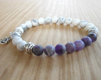 Amethyst Om Mala Bracelet, Healing & Balancing, Mala Bracelet, Yoga, Buddhist, Meditation, Prayer Beads