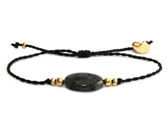 Gemstone adjustable minimal bracelet