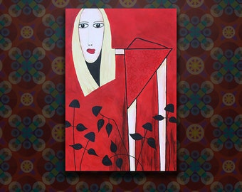 Curious Woman Acrylic Painting on Stretched Canvas