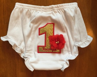 Gold Glitter and Red Flower Birthday Baby Diaper Cover