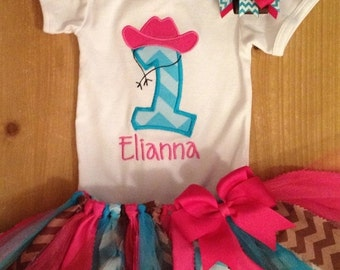 ON SALE Pink and Turquoise Cowgirl Birthday Tutu Outfit