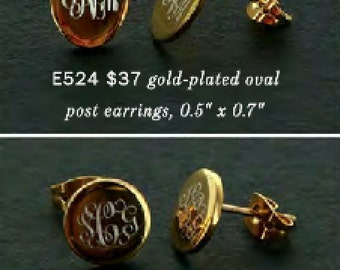 Monogrammed Gold or Oval or Round Post Earrings