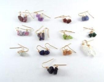 Gold Raw Stone Earrings