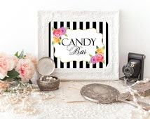 Black Striped Candy Bar Sign, Candy Buffet Sign, Printable Candy Bar Sign, Floral Candy Bar Table Sign, Black White Gold