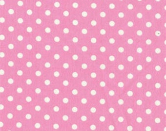 Michael Miller candy pink dumb dot white polka dot fabric 1/2 yard or more