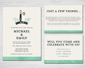 Portrait Illustrated Rustic Wedding Invite PDF