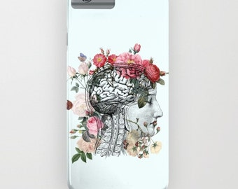 Beautiful Brain Phone Case, iphone 6,  6 plus  5 Samsung S3, S4 S5, S6 floral brain anatomical, med student, cases, protective case
