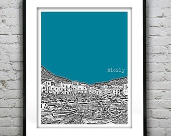 Sicily Skyline Art Print Poster A4 Size