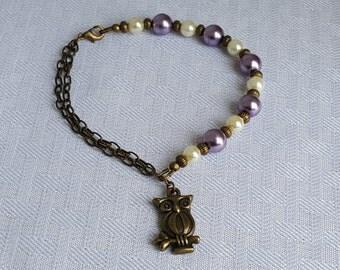 Owl Charm Glass Pearl Vintage Antique Gold Bracelet