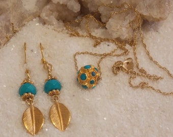 Turquoise and 24k Gold Vermeil Leaf Earrings