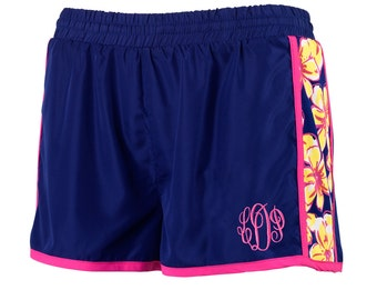 Beach Floral Active Shorts with Monogram