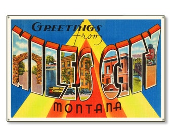 Miles City Montana mt Old Retro Vintage Travel Postcard Reproduction Metal Sign Art Wall Decor STEEL not tin 36x24 FREE SHIPPING