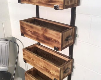Handmade solid steel shelving system with handmade lift out boxes
