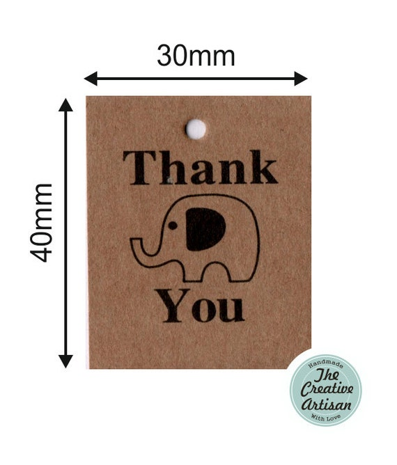 Baby Shower Gift Card Value ~ Elephant kraft card thank you gift tag hang tags