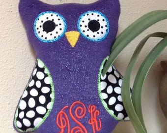 monogram plush owl