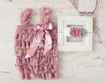 SET-Vintage Pink Lace Romper And Headband Set,Petti lace romper,Newborn Photo Prop,1st birthday outfit,baby lace romper,newborn romper