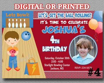 Bowling Invitations, Boy - Photo YOU Print Digital File or PRINTED Birthday Party Invitations Bowling party