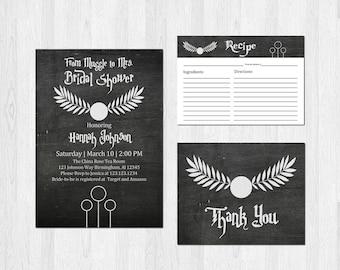 Harry Potter Bridal Shower Invitation Set Wedding Recipe Card Thank You Card Digital File or Prints Sci-fi Geek Nerd Chalkboard Bundle