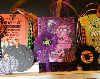 Set of Three Oversized Halloween Tags for Journals, Gift Tags, Scrapbooks, Junk Journals or Cards.  Tags With Decorated Writing Space.