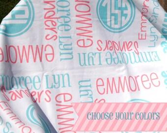 Monogrammed Baby Girl Blanket - Personalized Receiving Blanket for Girls - Custom Name Baby Blanket - Newborn Swaddling Blanket - Photo Prop